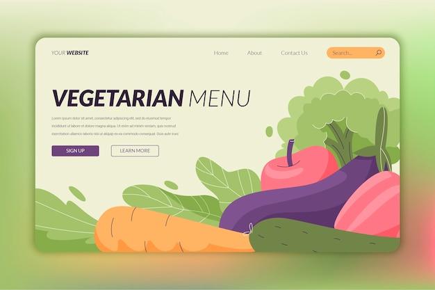 Page de destination de nourriture végétarienne plate dessinée à la main