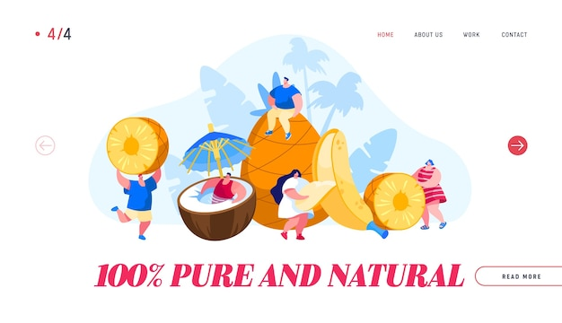 Page de destination de la nourriture végétarienne saine et des boissons aux jus de fruits frais d'été