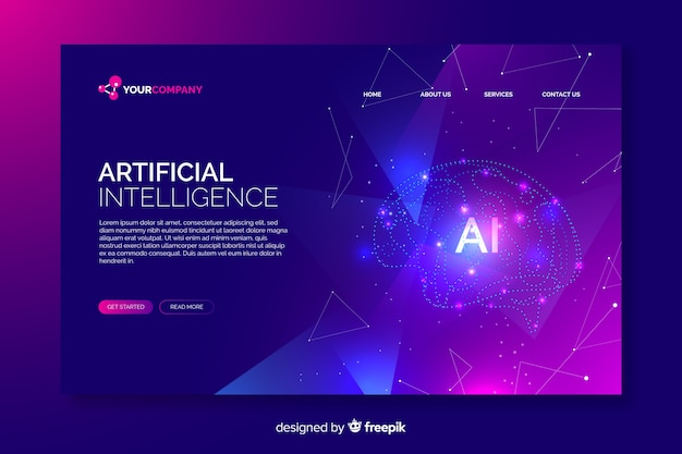 Page de destination numérique de l'intelligence artificielle