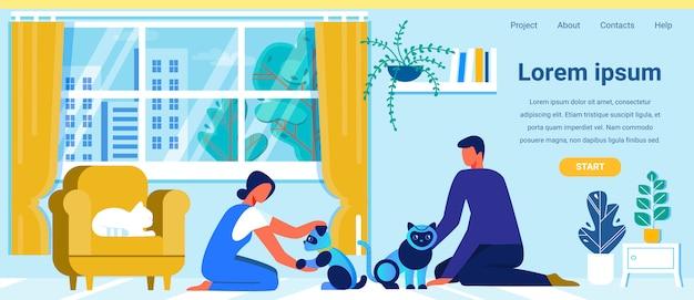 Page de destination offrant des animaux domestiques robotiques interactifs