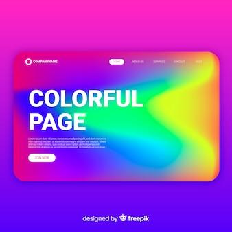 Page de destination ondulée colorée