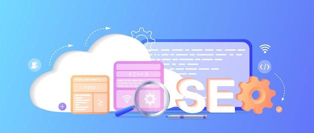 Page de destination de l'optimisation des moteurs de recherche seo développement de la page du site web page de destination du modèle