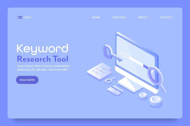 Page de destination de l'outil de recherche de mots clés