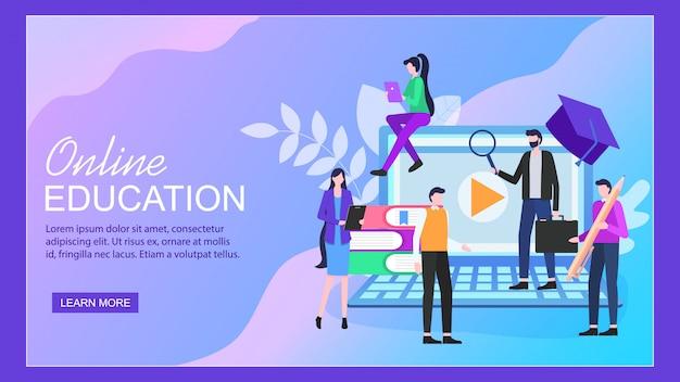Page de destination. page education en ligne sur ordinateur portable femme étudiant homme enseignant