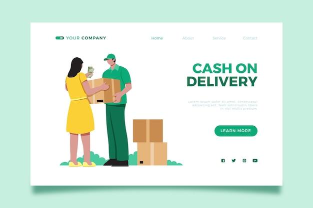 Page de destination de paiement à la livraison illustrée