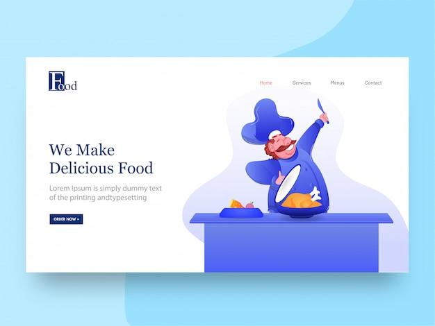 Page de destination avec personnage de chef heureux présentant le poulet pour nous préparons des plats délicieux.