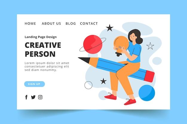 Page de destination de la personne créative plate organique