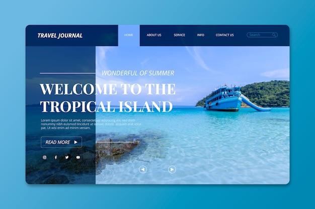 Page de destination avec photo de l'île