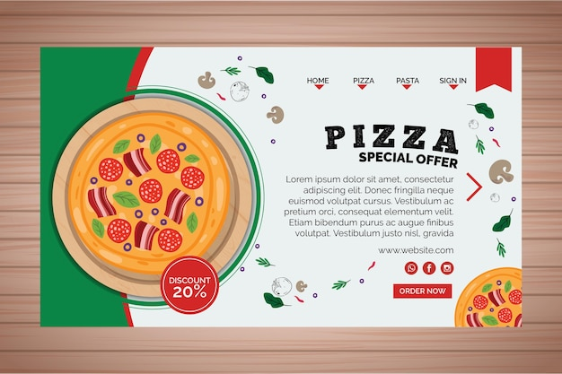 Page de destination avec pizza
