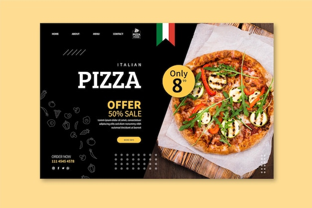 Page de destination de la pizzeria