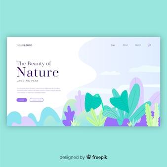 Page de destination des plantes dessinées à la main