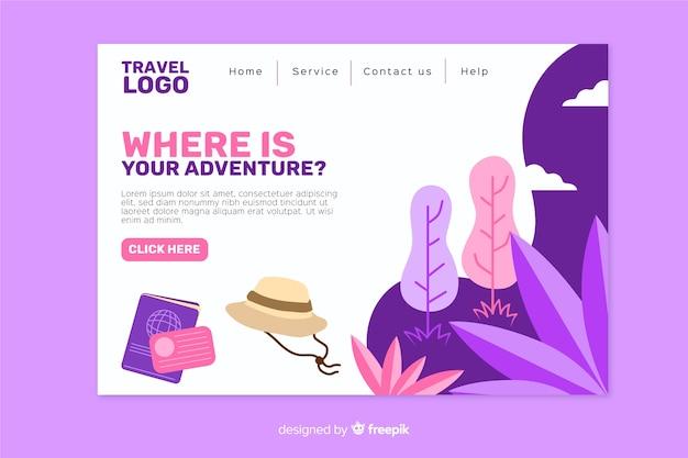 Page de destination plate avec éléments de voyage