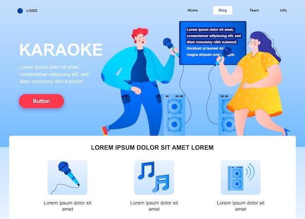 Page de destination plate de karaoké. heureux amis chantant avec la page web de microphones.