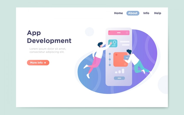 Page de destination plate et moderne du développement d'applications