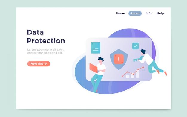 Page de destination plate et moderne de la protection des données