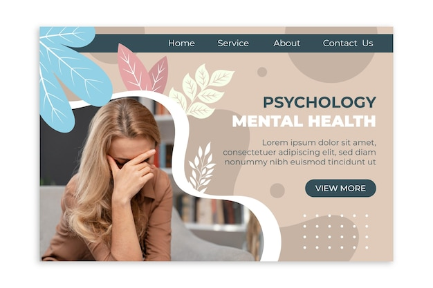 Page de destination plate sur la santé mentale avec photo