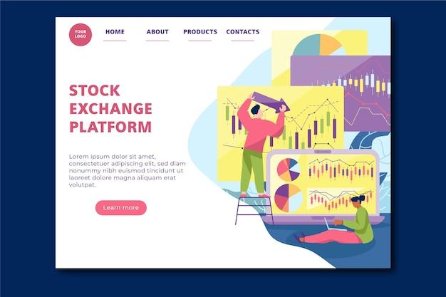 Page de destination de la plateforme boursière