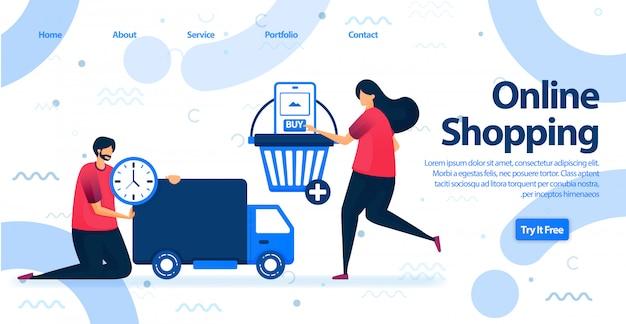 Page de destination pour les achats en ligne ou le commerce électronique.