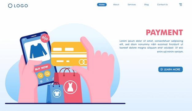 Page de destination pour achats en ligne avec paiement en style plat