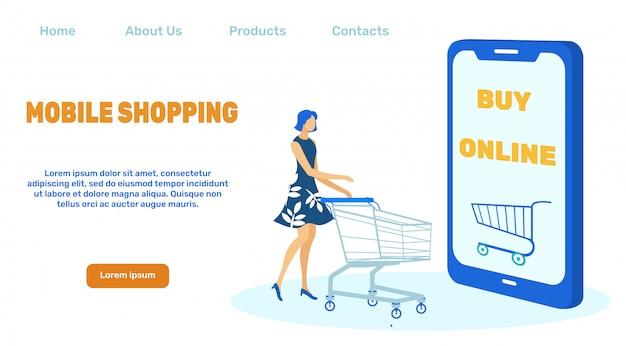 Page de destination pour les achats mobiles