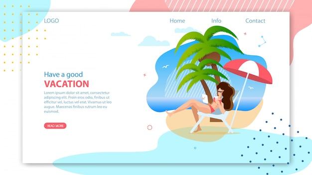 Page de destination pour l'agence de voyage en ligne.
