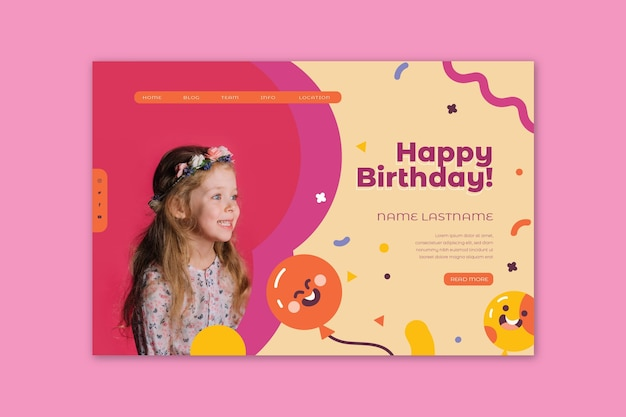 Page de destination pour l'anniversaire des enfants