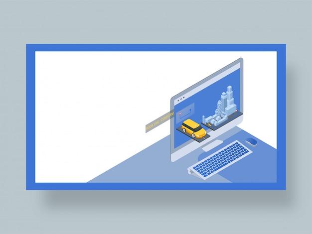 Page de destination pour l'application de réservation de taxi en ligne.