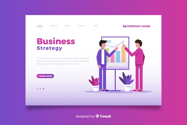Page de destination pour une approche commerciale du design plat