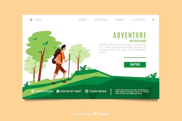 Page de destination pour les aventures