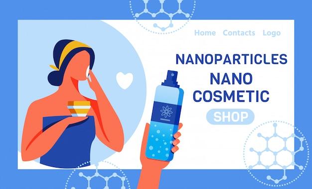 Page de destination pour la boutique en ligne avec nano cosmetics