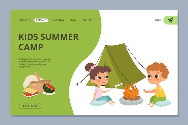 Page de destination pour le camping d'été pour enfants