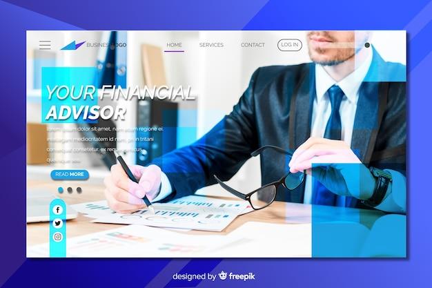 Page de destination pour les conseillers financiers avec photo