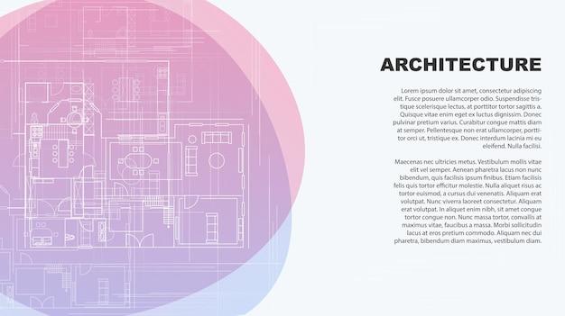Page de destination pour le design d'intérieur et l'architecture de la bannière concept pour une entreprise d'architecture