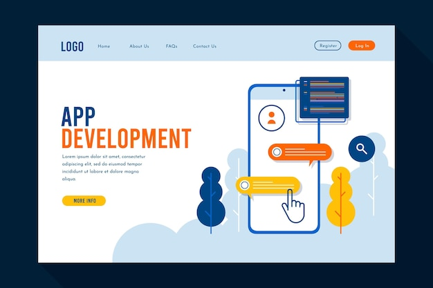 Page de destination pour le développement d'applications