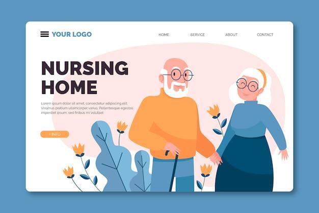 Page de destination pour la maison de retraite
