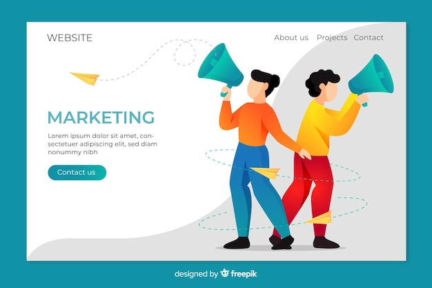 Page de destination pour le marketing