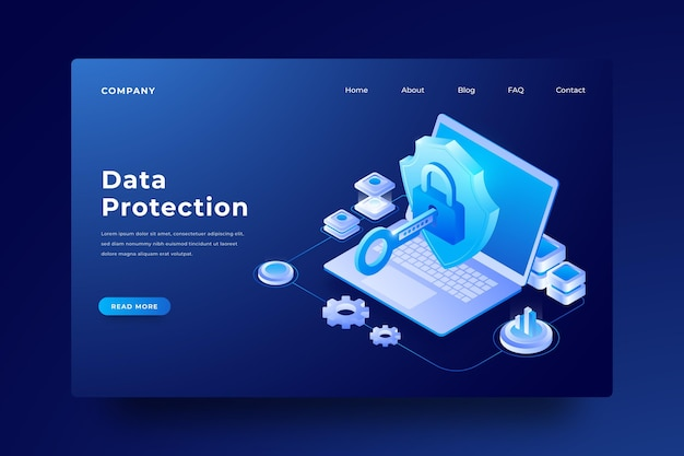 Page de destination pour ordinateur portable de protection des données