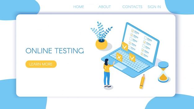 Page de destination pour les tests en ligne
