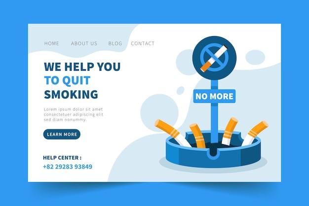 Page de destination pour vous aider à arrêter de fumer