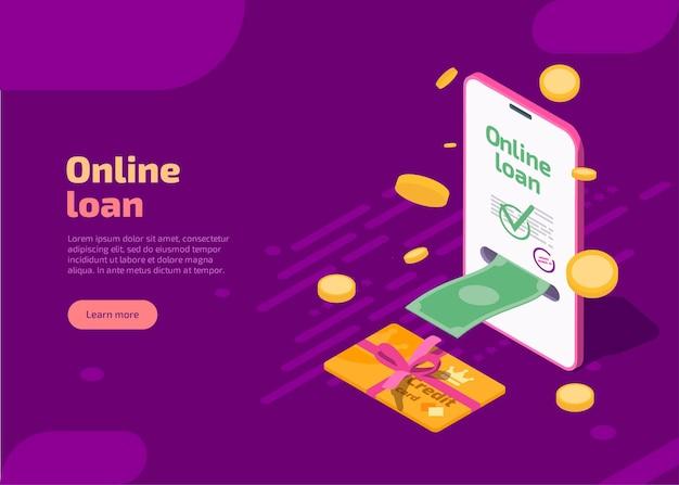 Page de destination de prêt en ligne avec téléphone et argent comptant