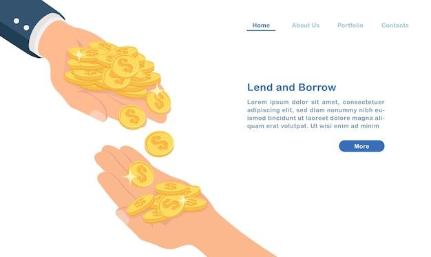 Page de destination prêter et emprunter de l'argent concept pièces d'or et les mains des gens