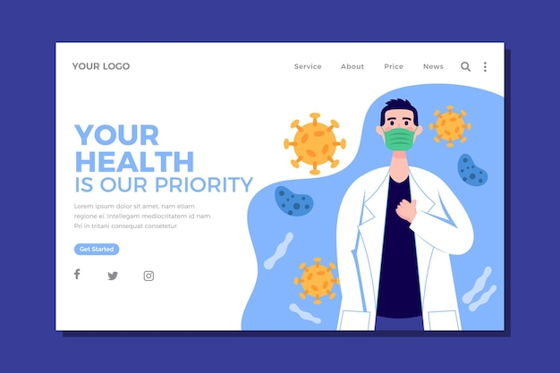 Page de destination prioritaire pour la santé au design plat