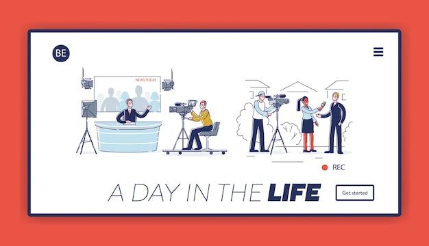 Page de destination avec processus de production de nouvelles: présentateur de spectacle en studio, interview de journaliste, opérateur vidéo et caméraman avec des caméras professionnelles