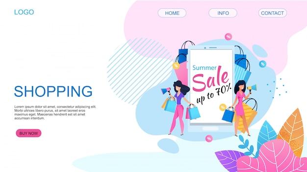 Page de destination proposant des achats avec une réduction de prix de 80%