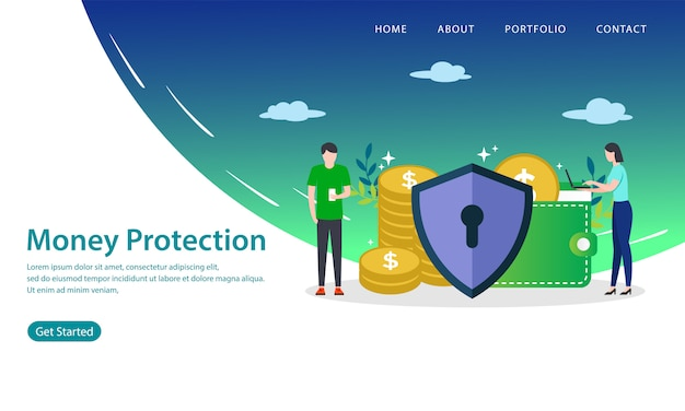 Page de destination de protection de l'argent