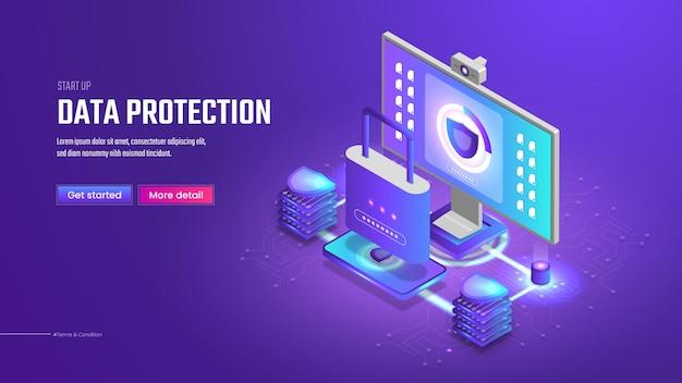 Page de destination de la protection des données isométriques 3d