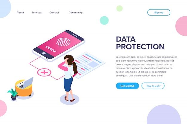 Page de destination de la protection des données isométriques