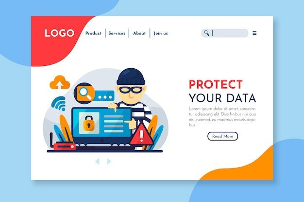 Page de destination de protection des données