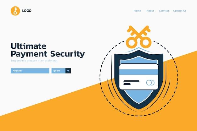 Page de destination de la protection ultime de paiement sécurisé