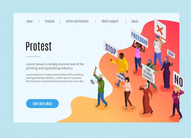 Page de destination de protestation politique avec texte et informations visuelles sur le motif de la manifestation des personnes et la grève isométrique